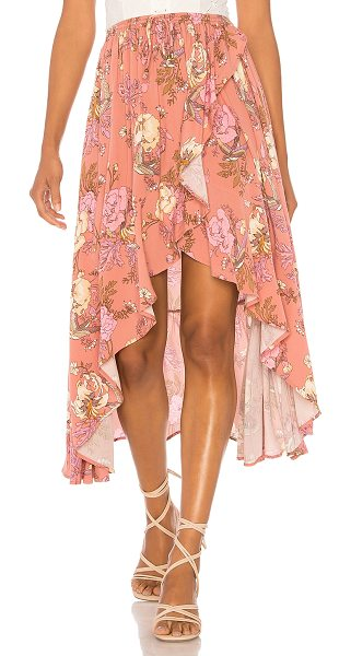 """Spell & The Gypsy Collective Rosa Wrap Skirt in blush - """"Rayon blend. Hand wash cold. Unlined. Elasticized..."""