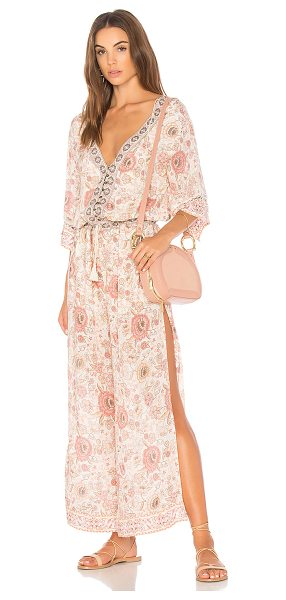 """Spell & The Gypsy Collective Zahara Pantsuit in pink - """"98% rayon 2% metallic. Hand wash cold. Partial front..."""