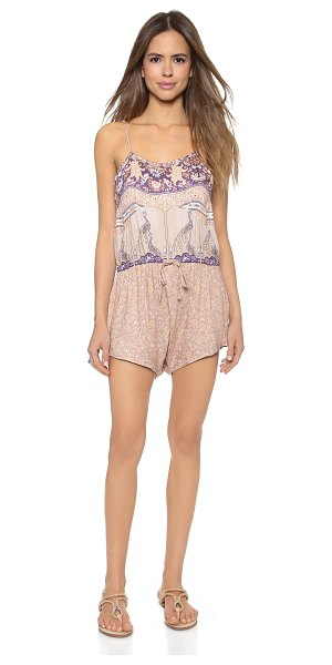SPELL Xanadu strappy romper in gold dust - A mix of vintage inspired prints lends charm to this...