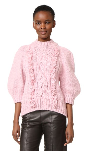 Spencer Vladimir the rose sweater in rose - A plush, hand knit Spencer Vladmir sweater. Bold fringe...