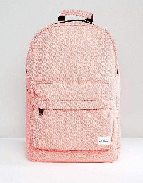 "Spiral Backpack in Apricot Marl in pink - """"Backpack by Spiral, Fabric outer, Marl finish, Branded..."