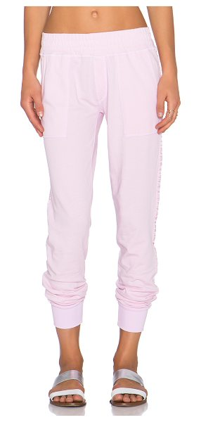 Spiritual Gangster Jogger sweatpant in pink - 100% cotton. Banded waist and leg openings. Front slant...