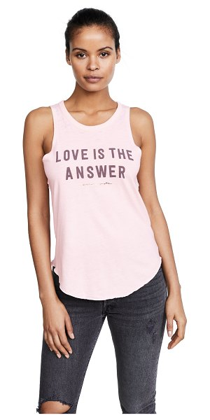 Spiritual Gangster love is the answer tank in pink sand - Fabric: Brushed jersey Graphic print T-shirt style...