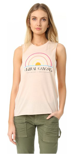 Spiritual Gangster sg 1976 festival tank in sand - A retro-inspired graphic accents the front of this...