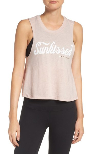 Spiritual Gangster sunkissed crop tank in shell - Add a retro twist to your yoga style with a slubbed crop...
