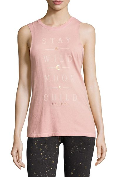 Spiritual Gangster wild moon rocker tank top in blush - Cotton tank top with front metallic graphic. Roundneck....