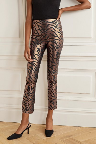 SPRWMN cropped metallic zebra-print leather flared pants in copper