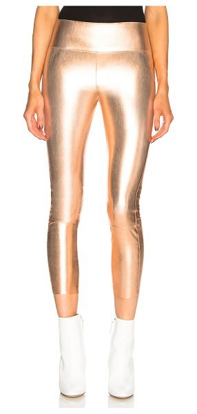 SPRWMN High Waist Capri Leather Legging in rose gold - Self: 100% stretch leather - Contrast Fabric: 97% lycra...