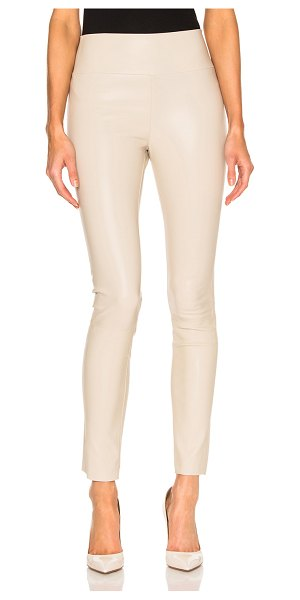 SPRWMN High Waist Leather Ankle Legging in neutrals - Self: 100% lambskin leather - Contrast Fabric: 97% lycra...