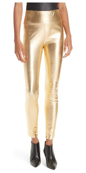SPRWMN high waist leather ankle leggings in metallic - Made from French stretch leather with a metallic sheen...
