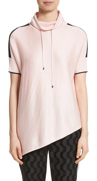 St. John birdseye knit funnel neck sweater in blush/caviar - An asymmetrical hem puts a modern slant on a sporty,...