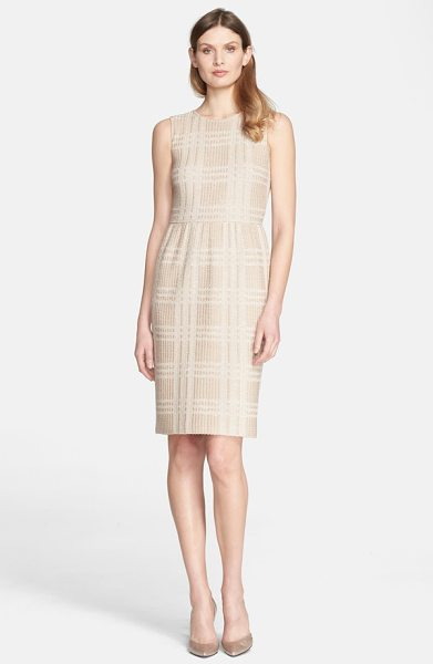 St. John bold plaid knit dress in classic beige/ cream - A deftly gathered waist highlights the narrowest part of...
