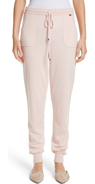 St. John cashmere jersey knit crop pants in blush - St. John puts the luxe in athluxury with these sporty,...