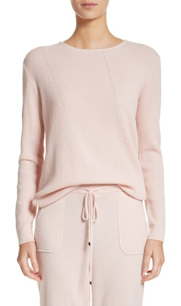 St. John cashmere sweater in blush - Diamante trim adds face-framing sparkle to this cozy...