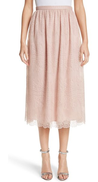 St. John chantilly lace gathered skirt in powder - Unabashedly feminine, this gathered skirt is playfully...
