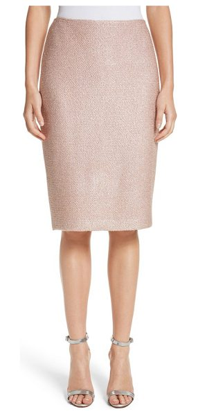St. John frosted metallic knit pencil skirt in blush multi - Slender silver threads add subtle sparkle to this...