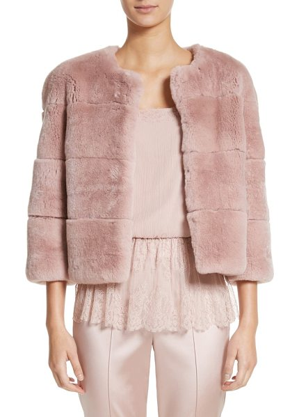 St. John genuine rex rabbit fur jacket in blush