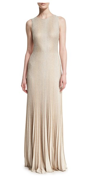 "St. John Kiklos shimmery knit flared gown in alabaster/gold - St. John Collection ""Kiklos"" shimmery ribbed knit gown...."