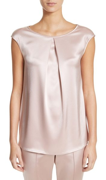 St. John pleated liquid satin top in powder - A single front pleat softly structures a sleeveless...