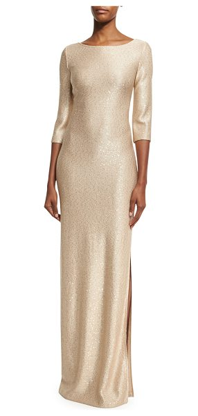 St. John Sequined Knit 3/4-Sleeve Gown in gold - St. John Collection sequined knit gown. Bateau neckline;...