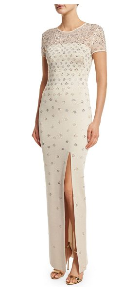 St. John Shimmery Milano Knit Short-Sleeve Gown in pale gold - St. John Collection sequined shimmery Milano knit gown...