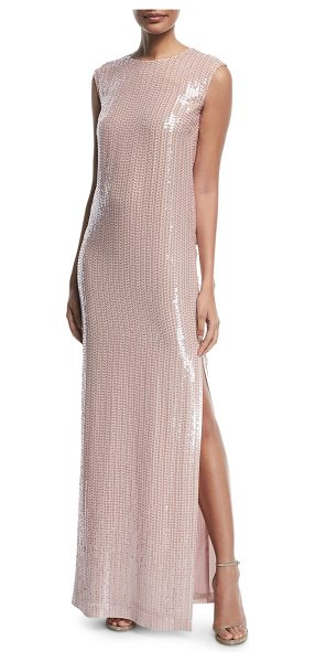 St. John Sleeveless Hand-Beaded Column Gown in light pink - St. John Collection hand-beaded silk georgette gown....