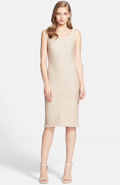 St. John sparkle tweed knit sheath dress in shell multi - A simple below-the-knee sheath turns into something...