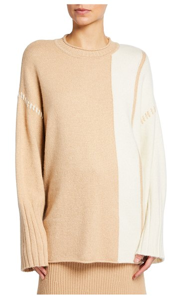 St. John Colorblock Cashmere-Blend Sweater in dune ivory