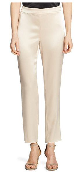 St. John cropped satin pants in champagne - Cropped side zip pants in satin finish. Banded waist....