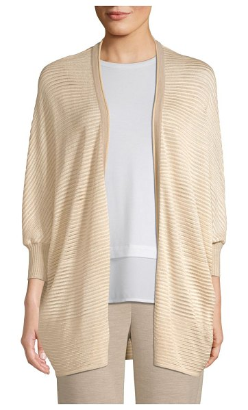 St. John degrade matte shine drop needle knit cardigan in hazel multi - Shimmery stripes elevate this lightweight drop needle...
