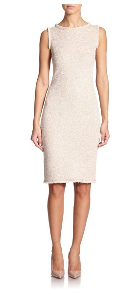St. John Eyelash-fringed knit dress in beige - A shapely sheath in a slightly rustic knit is styled...