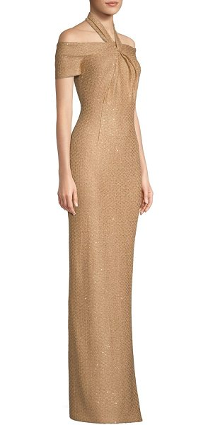 St. John glamour sequin knit cold-shoulder gown in copper multi - This opulent gown is designed with dazzling sequins and...