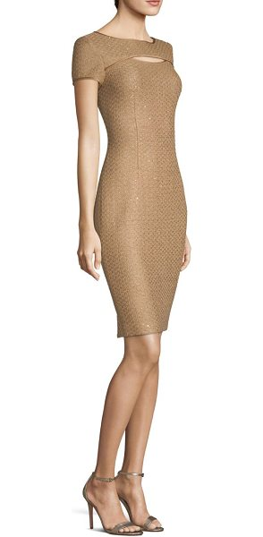 St. John glamour sequin knit sheath dress in copper multi - Sequins add striking effects to this sheath dress for a...