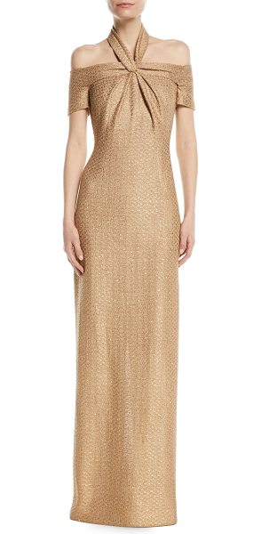 St. John Glimmer Knit Sequin 3/4-Sleeve Halter Gown in gold - St. John Collection evening gown in sequined hansh knit....