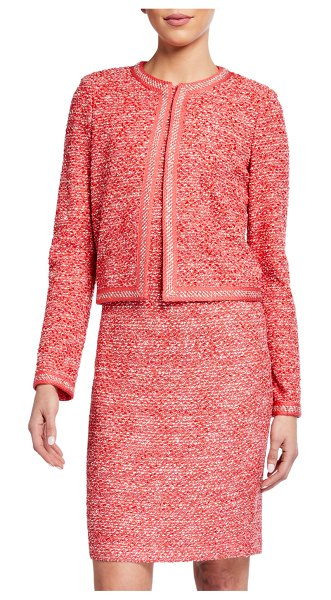 St. John Marled Space Dyed Tweed Knit Jacket in pink pattern