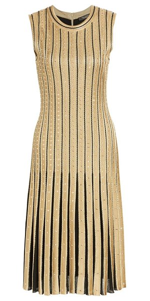 St. John metallic cable stripe knit dress in caviar gold