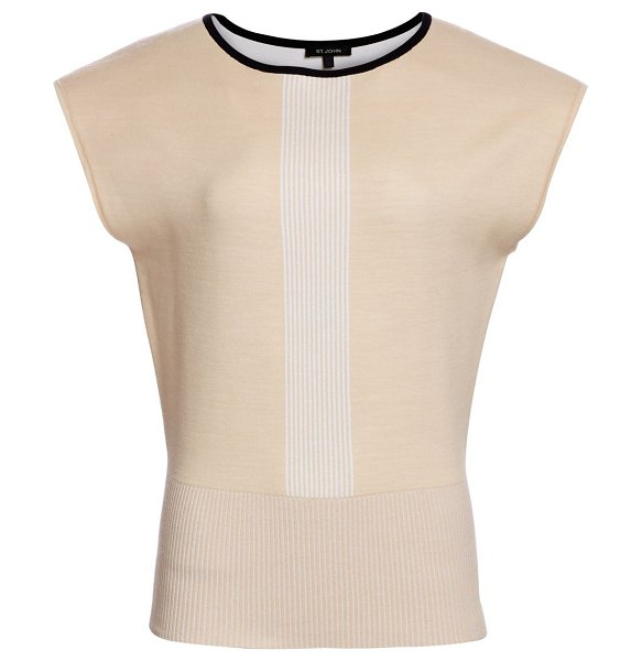 St. John placed engineered stripe knit top in tan