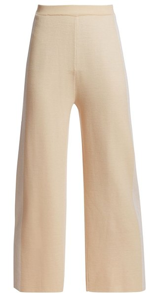 St. John placed engineered stripe knit trousers in brown