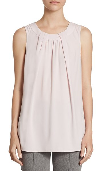 St. John pleated shell top in petal - Shell top with pleated detailing. Roundneck. Sleeveless....