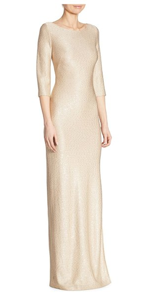 ST. JOHN roundneck sequin gown in safari gold - Radiant three-quarter sleeve gown with sequin accents....