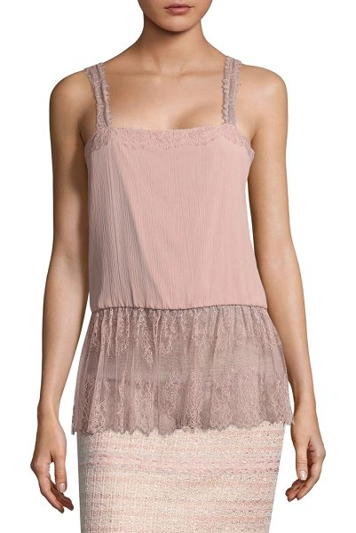St. John silk camisole in powder pink - Chic silk-blend camisole highlighted with lace details....