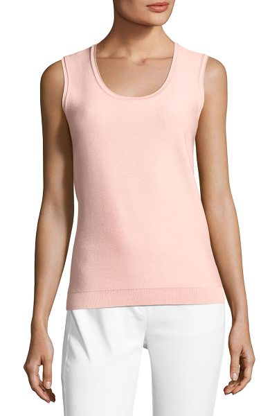 "ST. JOHN Splash Birdseye Knit Shell in blush - St. John Collection ""Splash"" birdseye knit shell. Scoop..."