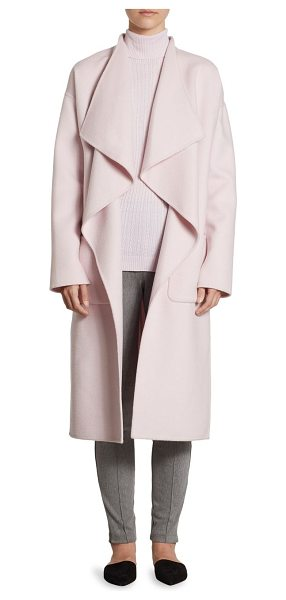 St. John wool angora coat in petal - Long draped coat in luxe angora and wool. Shawl collar....