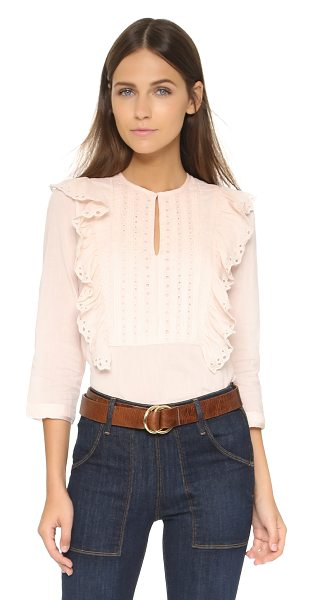 St. Roche Tiffin top in rose - A sweet St. Roche blouse styled in eyelet and detailed...