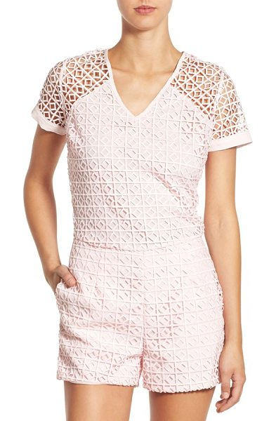 ST. studio lace romper in blush pink - An overlay of latticework lace adds beautifully textured...