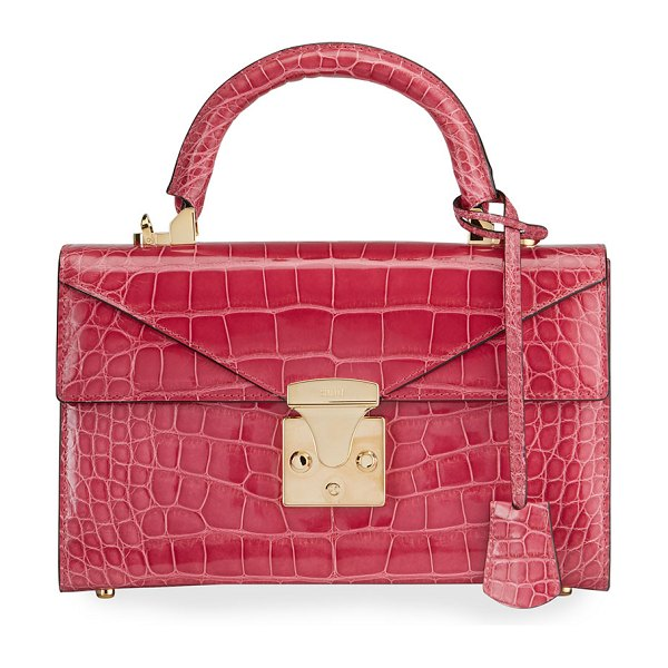 Stalvey Alligator 24K Gold 2.5 Small Top-Handle Bag in pink