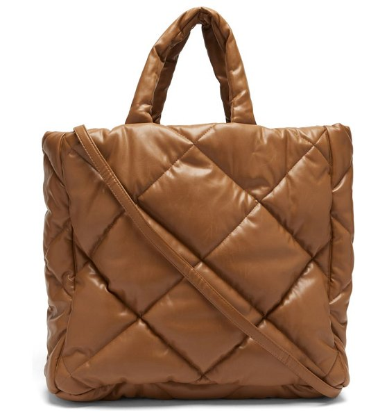 Stand Studio assante quilted faux-leather tote bag in beige