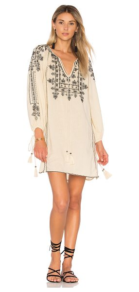 STAR MELA Danika Embroidered Dress in beige - 100% cotton. Hand wash cold. Unlined. Keyhole neckline...