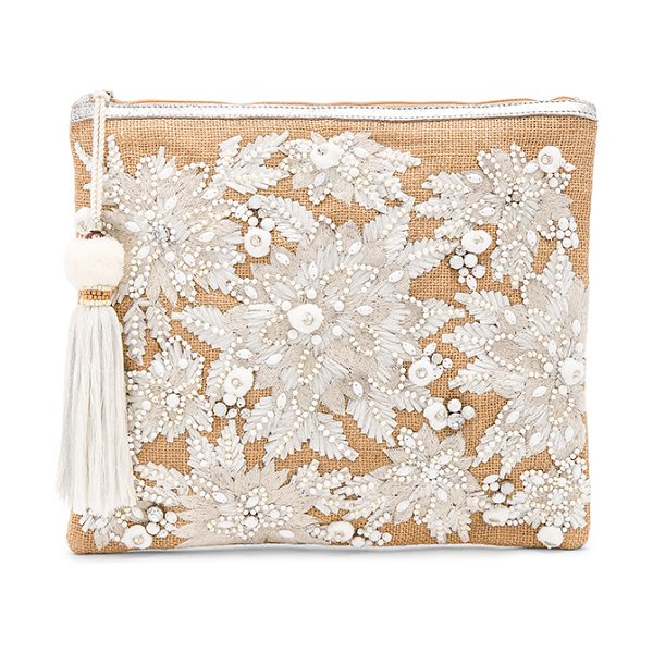 Star Mela Mansi Embroidered Clutch in natural & white - Woven jute exterior with cotton fabric lining. Zip top...