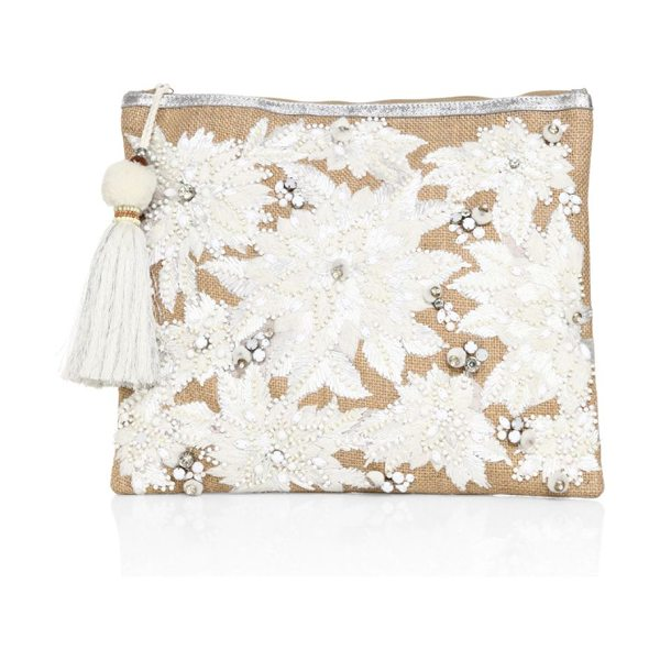 Star Mela mansi embroidered clutch in natural - Go-to clutch decorated with sequins and embroidery. Top...